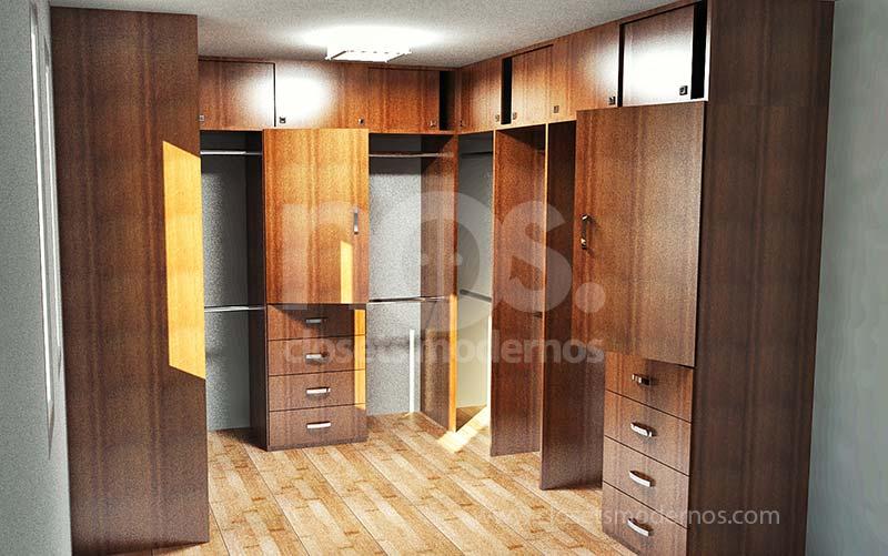 Modelos de closets y vestidores nos closets modernos for Modelos de closet de madera de cuarto